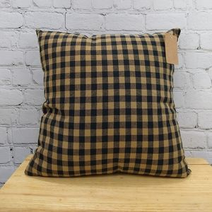 VHC black check throw pillow
